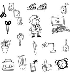 Object school in doodle art vector