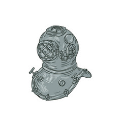 Old school diving helmet drawing vector