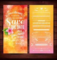 orange save the date for wedding stationery vector image