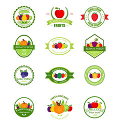 Organic farming products labels vector