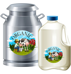 Organic milk in tank and bottle vector