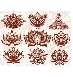 Ornamental lotus flowers vector