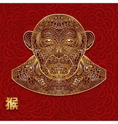 Ornate background with golden monkey head Chinese vector image