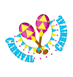 Pair of carnaval maracas with party ornaments vector