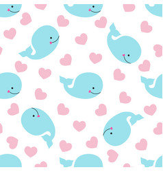 Pattern with whale and hearts vector