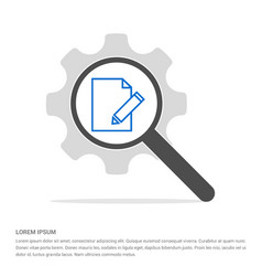 Pencil note icon search glass with gear symbol vector