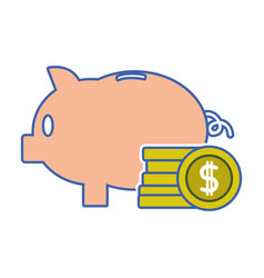 piggy to save money and coins cash currency vector image