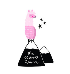 pink llama on hill or mountain hand drawn me vector image