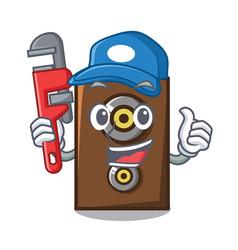 Plumber speaker mascot cartoon style vector