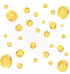 rain golden coins falling or flying money vector image