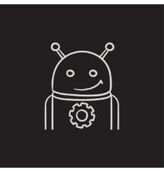 Robot with gear sketch icon vector image