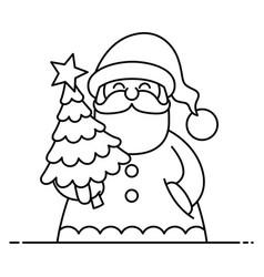 santa flat design line art vector image