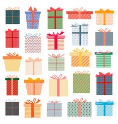 Set gift box colorful presents vector