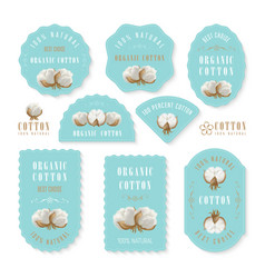 set of tags and logo for cotton manufacture vector image
