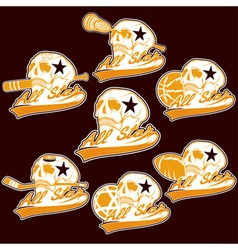 set of vintage sports all star crests with skulls vector image