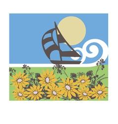 ship flowers sea print yellow blue green br vector image