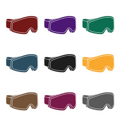 ski goggles icon in black style isolated on white vector image