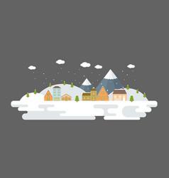 snowing urban winter landscape in flat design vector image