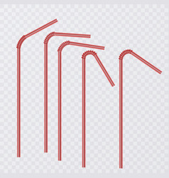 straw for beverage drinking straws of red color vector image