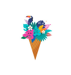 summer scene with ice cream cone filled vector image