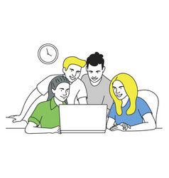 teamwork in workplace vector image