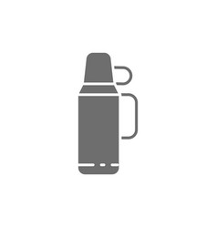 Thermos with a cup grey icon vector