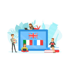 tiny people learning language over internet vector image