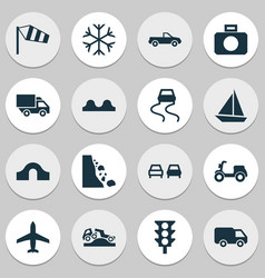 Transportation icons set with uneven way frosty vector