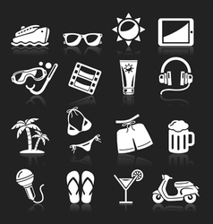 Travel white icons set vector
