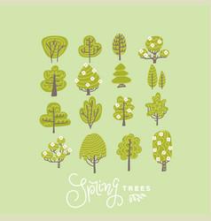 trendy flat trees and flowers set scandinavian vector image