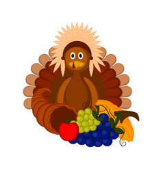 turkey with traditional food for thanksgiving vector image