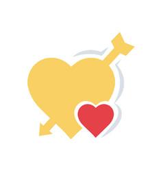 Valentines heart mini arrow flat vector