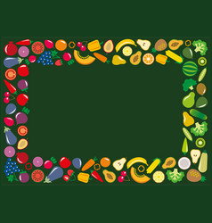 vegetables and fruits icons rectangle frame vector image