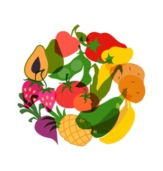 Vegetarian food background design with stylized vector