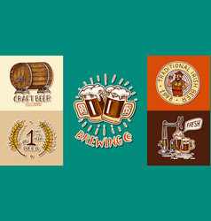 vintage beer posters cheers toast set of vector image