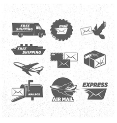 vintage post service icons set vector image