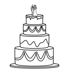 Wedding cake icon black and white vector
