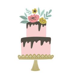 wedding cake with chocolate vector image