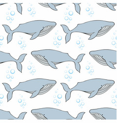 Whales seamless pattern on a white background vector