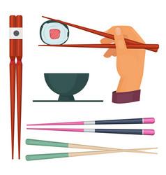 Wooden chopstick oriental kitchen items for vector