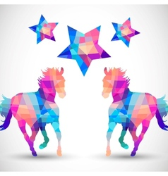 Abstract horse of geometric shapes with star vector