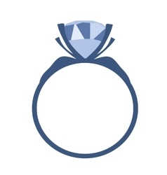Blue diamond engagement ring icon vector