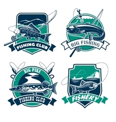 Fishing club icons and emblems set vector image vector image
