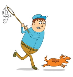 Man chasing dog vector