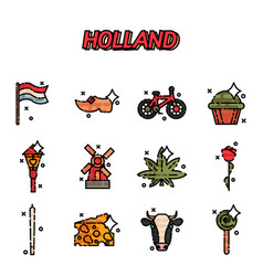 netherland flat icons design vector image vector image