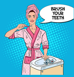 pop art young woman brushing teeth in bathroom vector image vector image