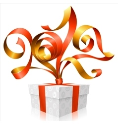 red ribbon and gift box Symbol of New Year 2017 vector image