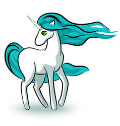 white unicorn vector image