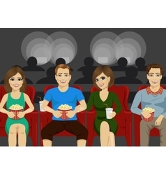 Young people smiling watching movie together vector image
