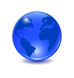 Blue earth Stylized glossy ball with shadow vector image vector image